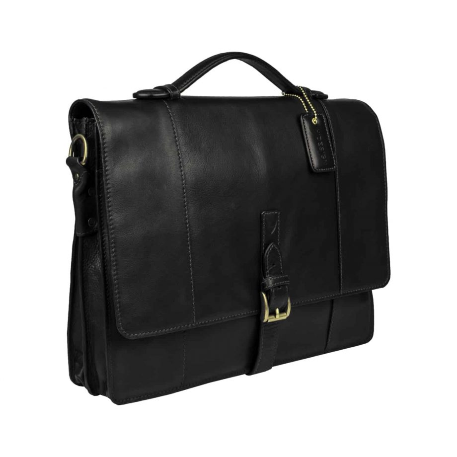 A 3-4 view of Maverick 02 Black Vegetable Tanned leather flap-over double gusset brief case