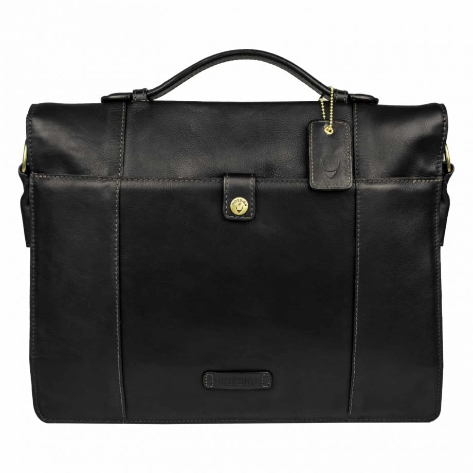 A backside view of Maverick 02 Black Vegetable Tanned leather flap-over double gusset briefcase