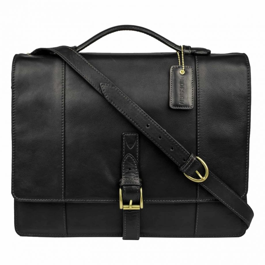 A front view with the strap of Maverick 02 Black Vegetable Tanned leather flap-over double gusset briefcase