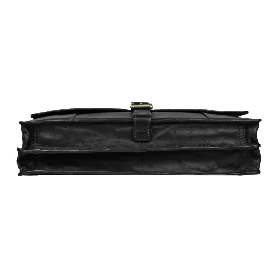 A bottom view of Maverick 02 Black Vegetable Tanned leather flap-over double gusset briefcase