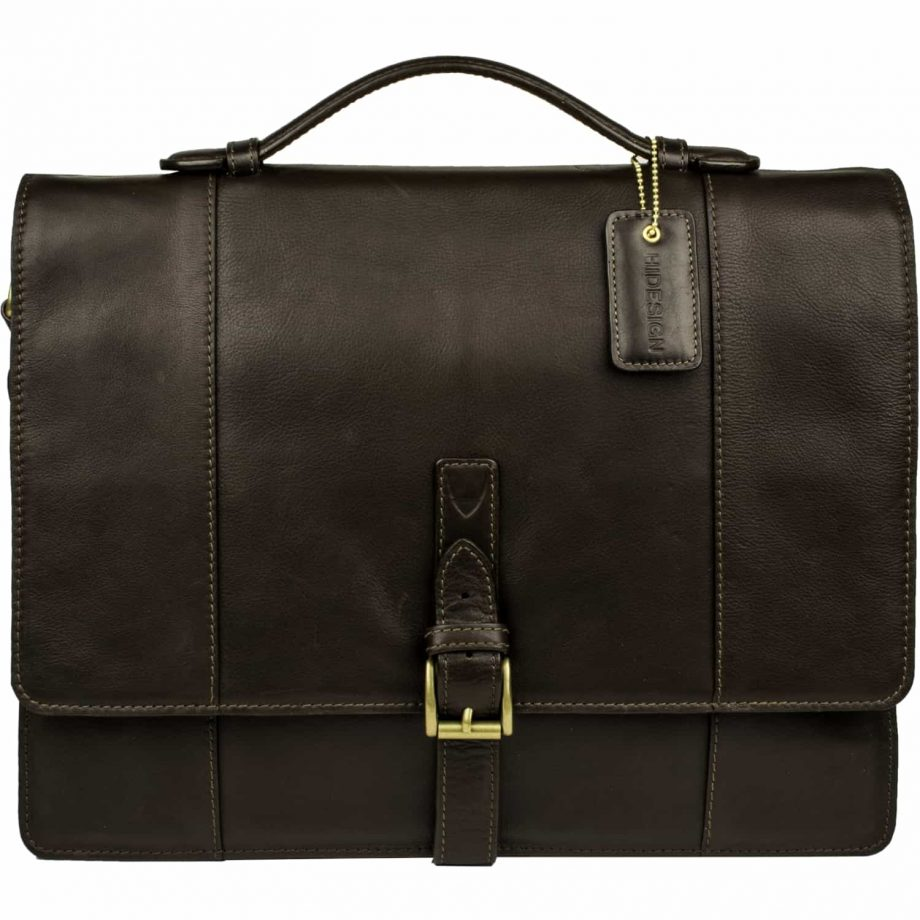 front view of brown maverick bag with buckle