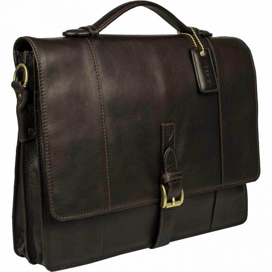 angled view of brown maverick bag with buckle