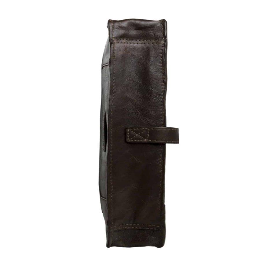 underside of maverick brown leather bag