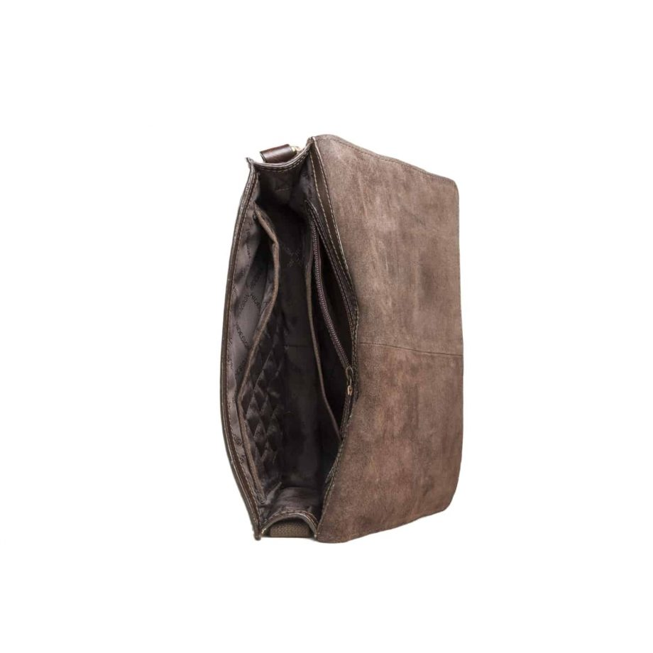 inside of brown maverick bag