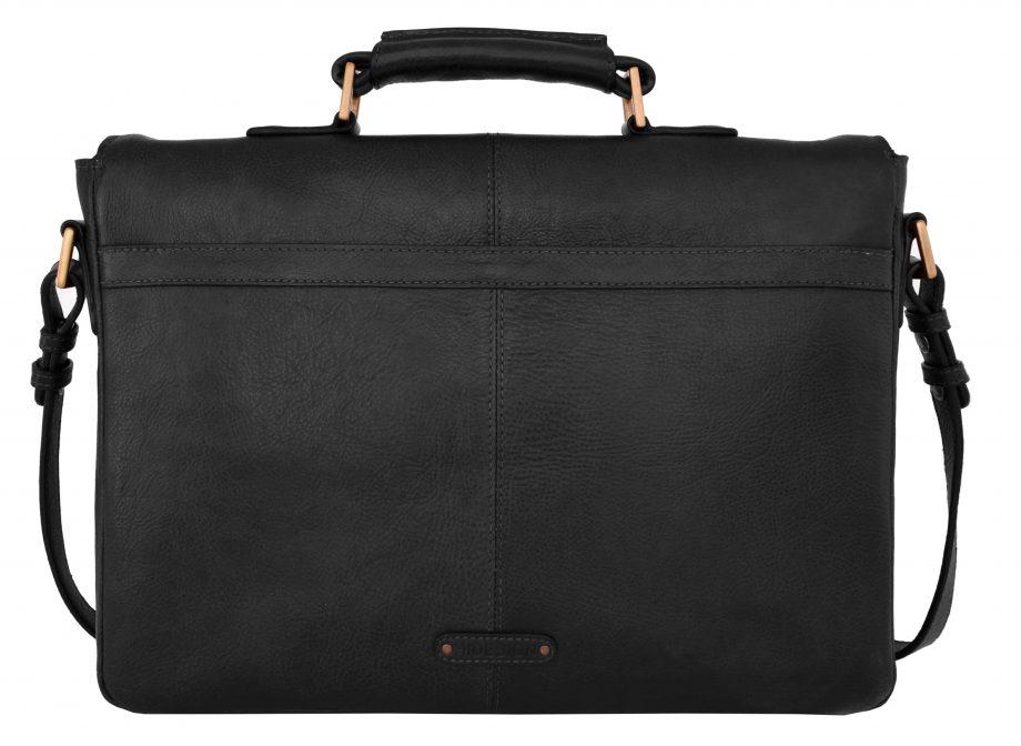 back view of parker black leather bag