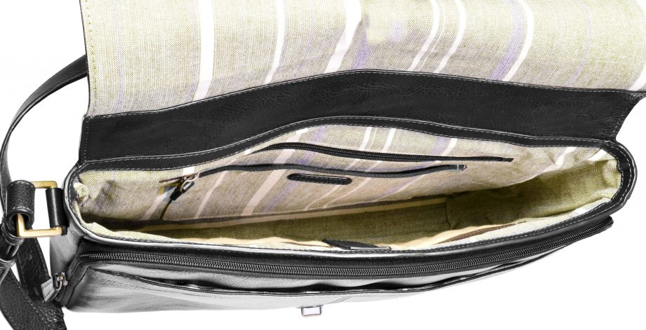 inside view of black leather parker bag compartments