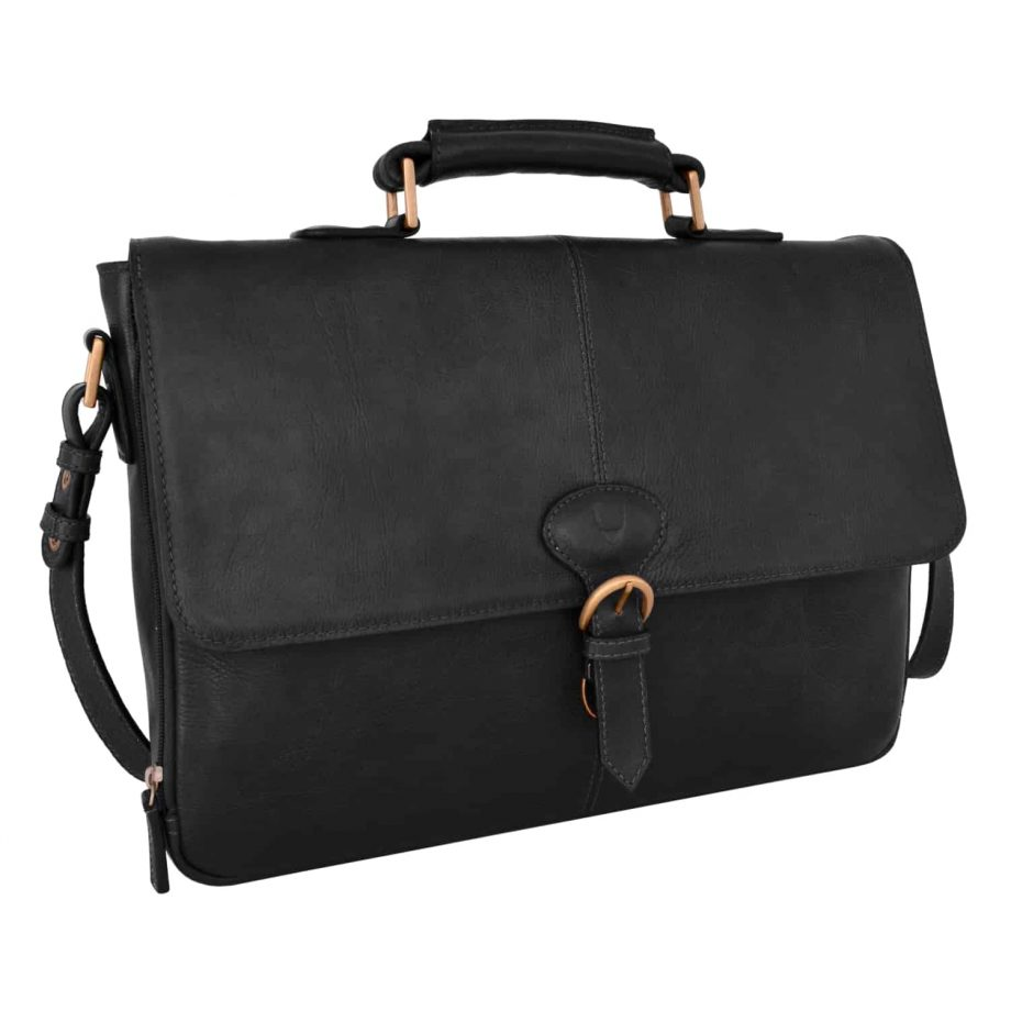 angled view of closed parker black bag