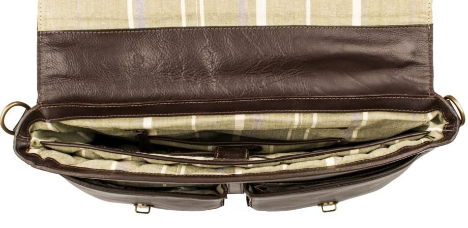 An internal interior view picture taken from above of Parker 02 brown leather briefcase