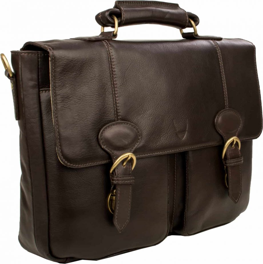 A 3-4 front view of brown Parker 02 Ranchero vegetable tanned leather briefcase with two pouch pockets