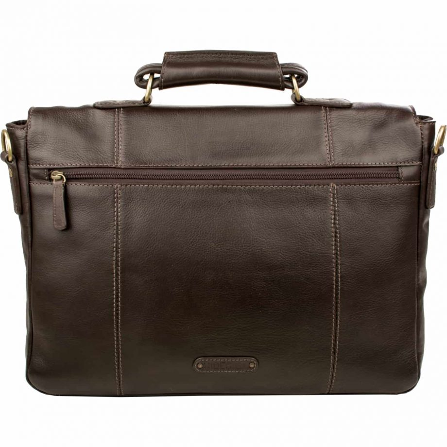 A front back view of Parker 02 brown leather briefcase without the strap