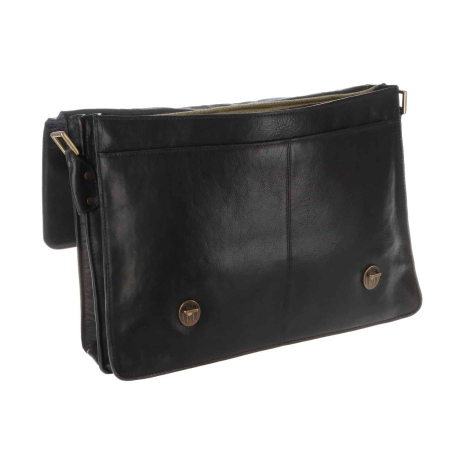 black leather parker bag opened