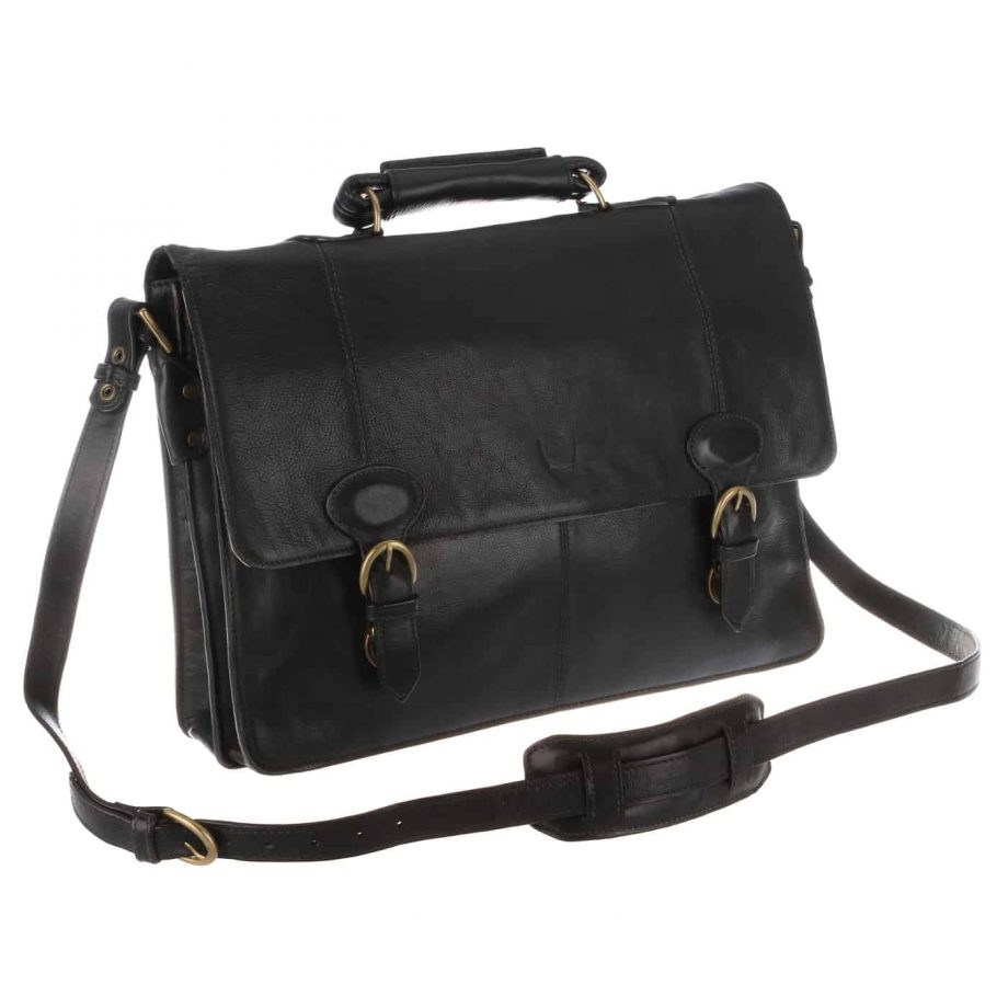 angle view of black leather parker bag with strap