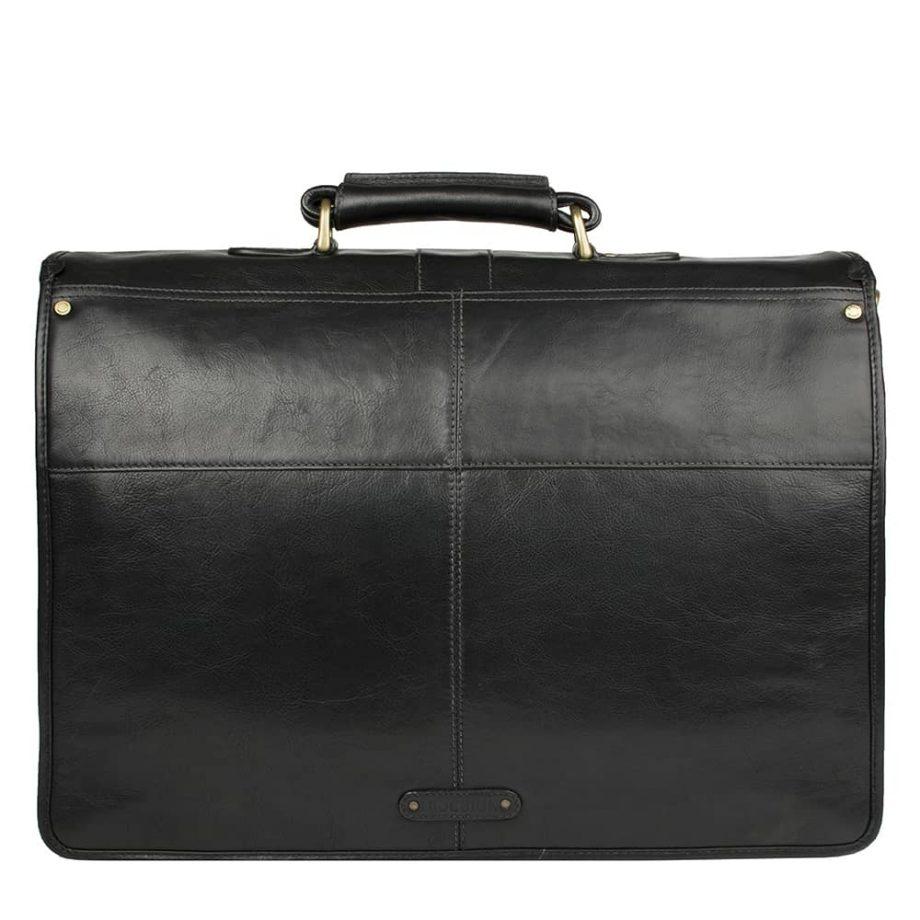 back of black leather bag