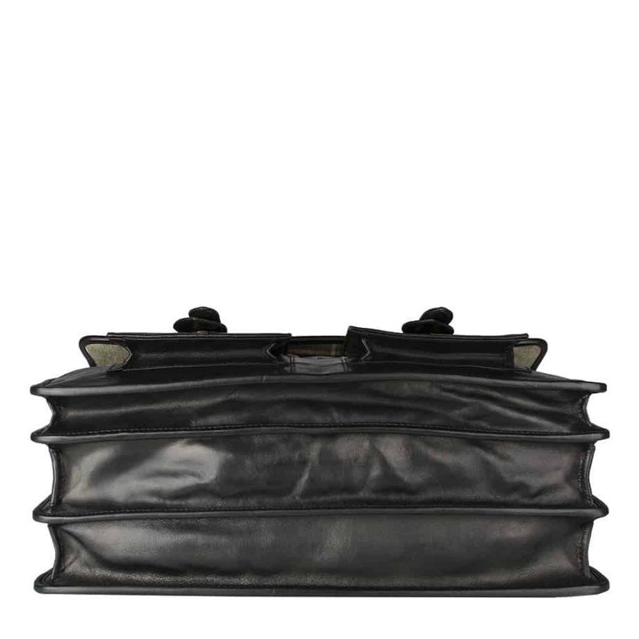 underside of black leather bag