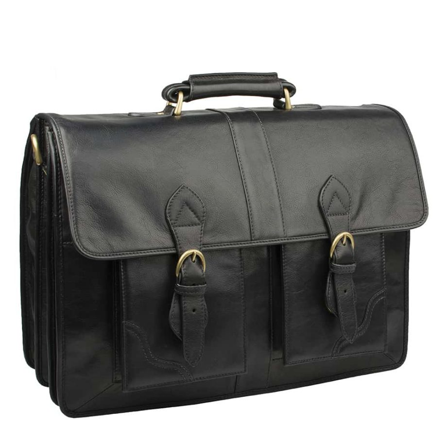 closed black leather bag with buckles