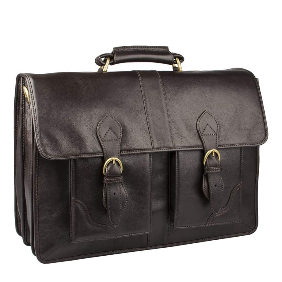 angled view of brown leather bag with buckles