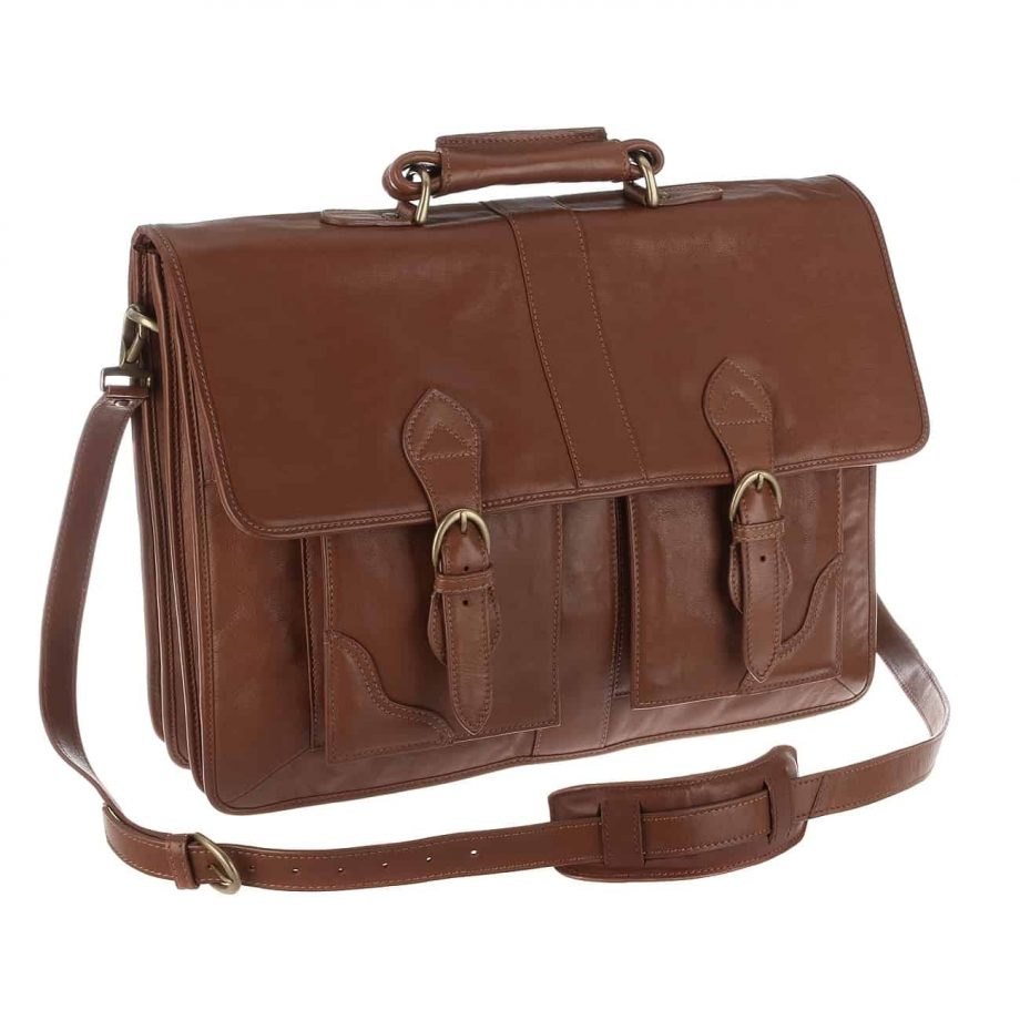A 3-4 view of extra large Review Tan leather briefcase with the strap