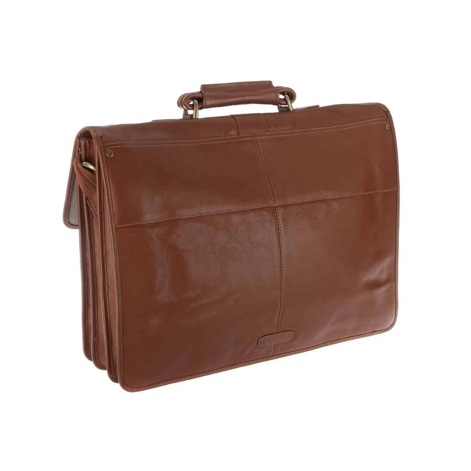 A 3-4 back view of extra large Review tan leather briefcase