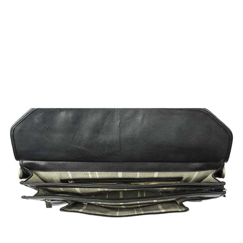 interior compartments of black leather roma bag