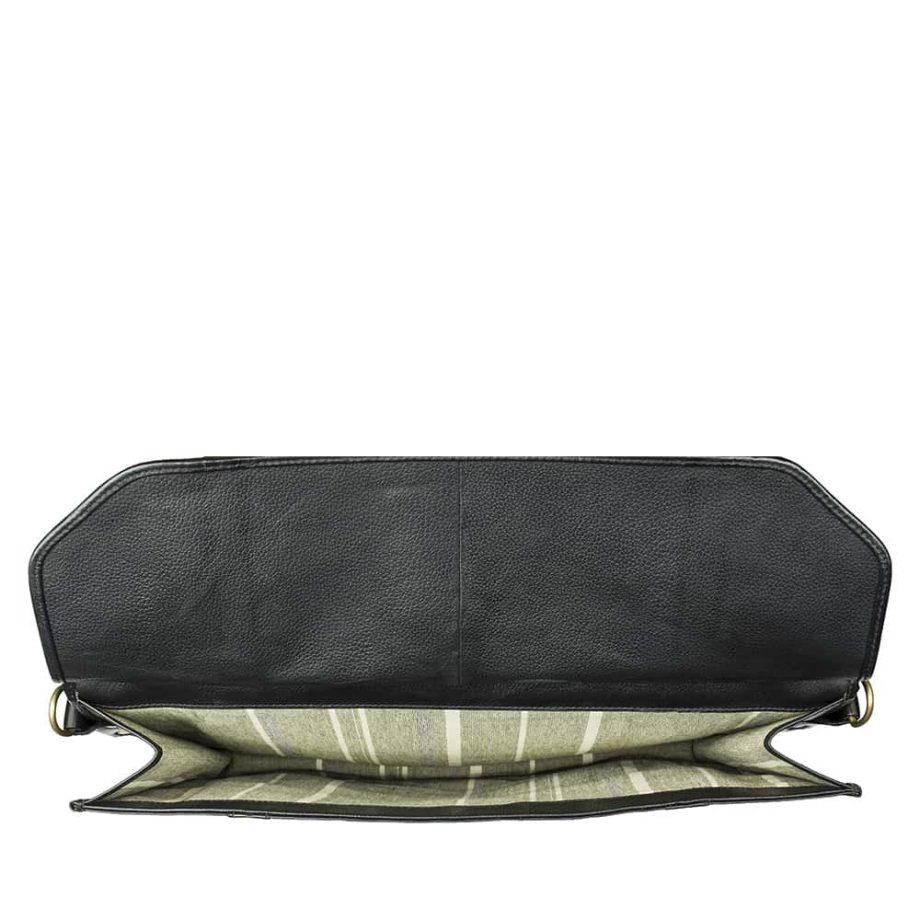 black leather roma bag interior