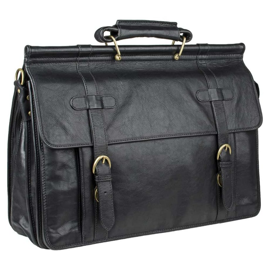 closed roma black leather bag with buckles