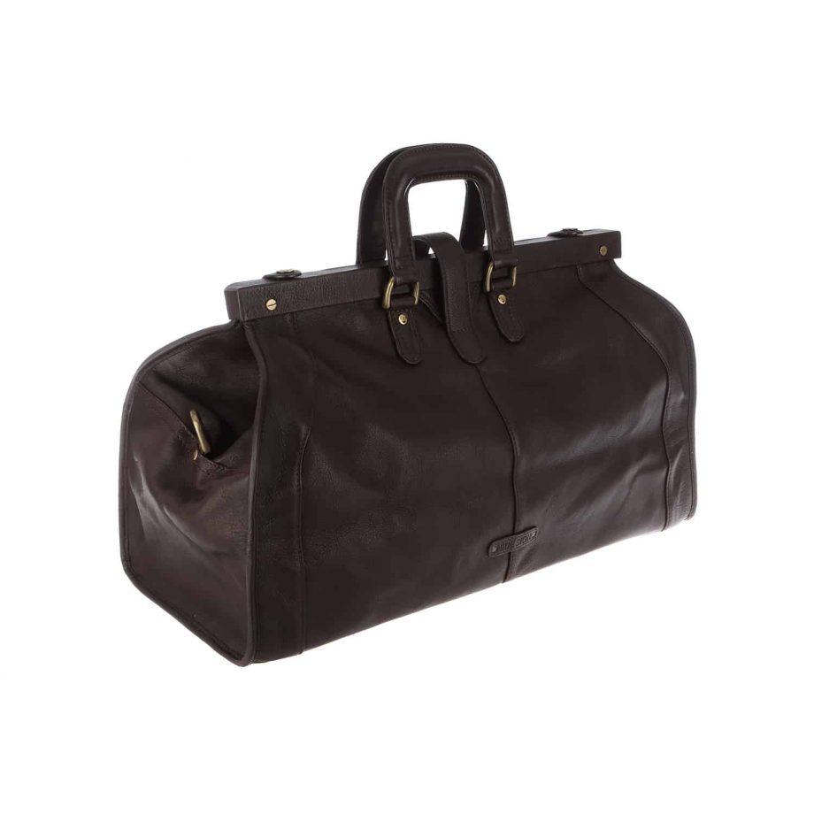 dark brown leather holdall travel bag