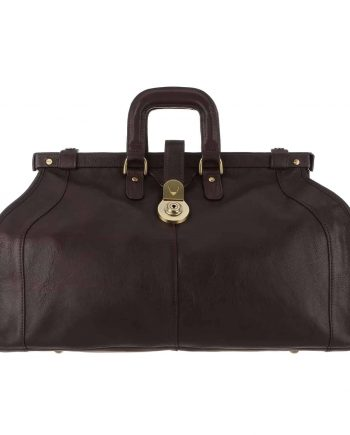 A front view of Safari Gladstone Style Brown Holdall Bag