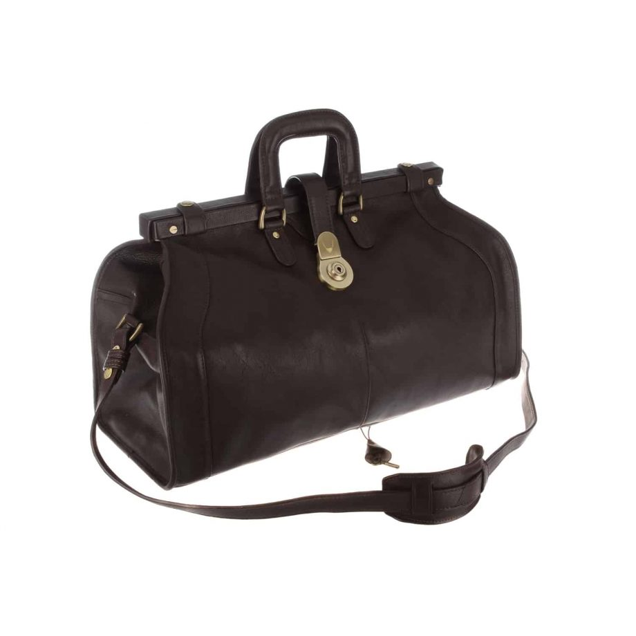 dark brown leather holdall with strap and buckle