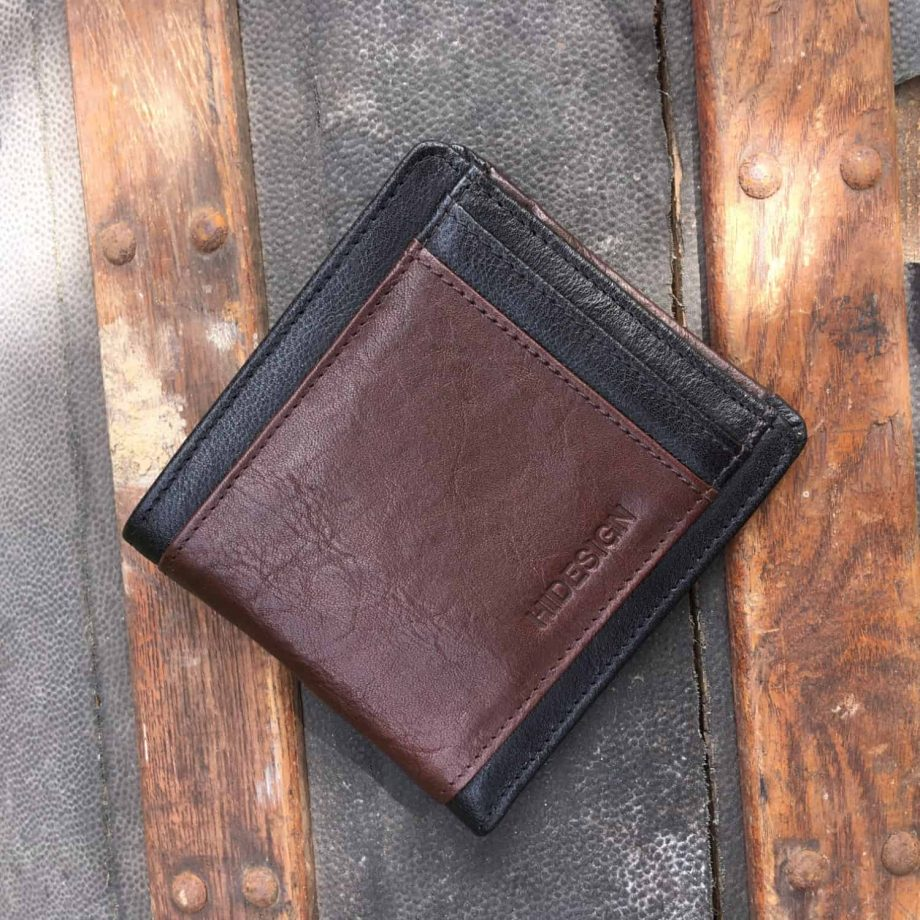 front view of men's vegetable tanned black and brown leather wallet