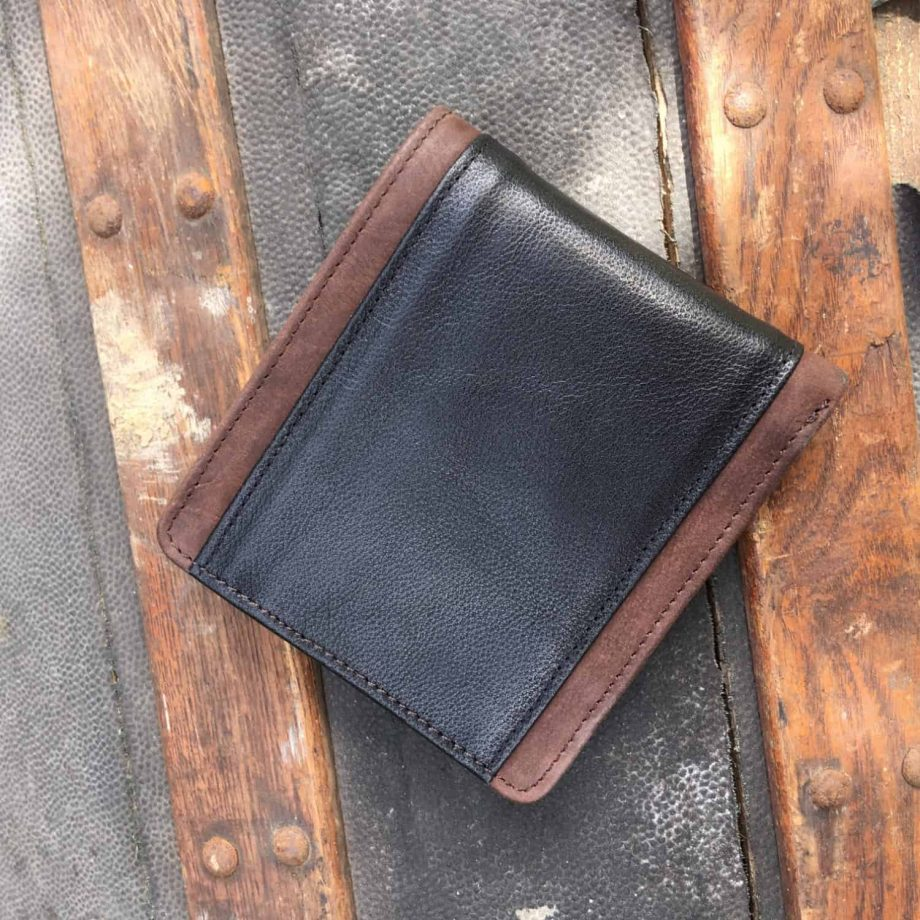 back view of classic style brown and black men's leather wallet