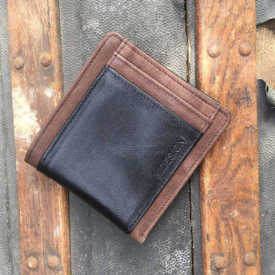front view of men's vegetable tanned brown and black leather wallet