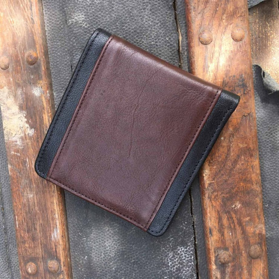 back view of classic style black and brown men's leather wallet