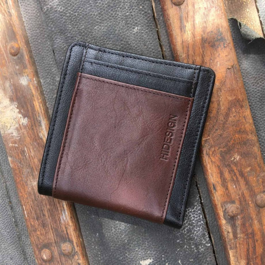 front view of classic style black and brown men's leather wallet