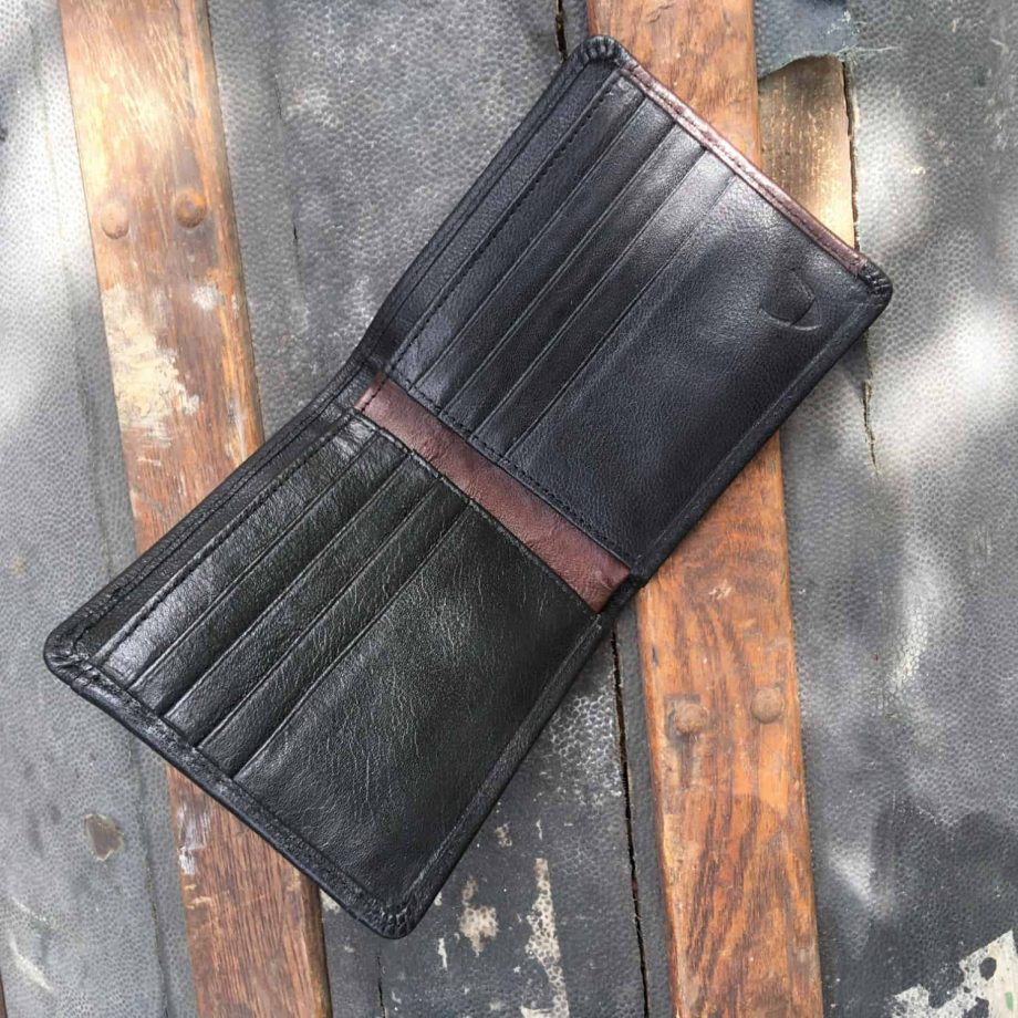 inside view of classic style black and brown men's leather wallet