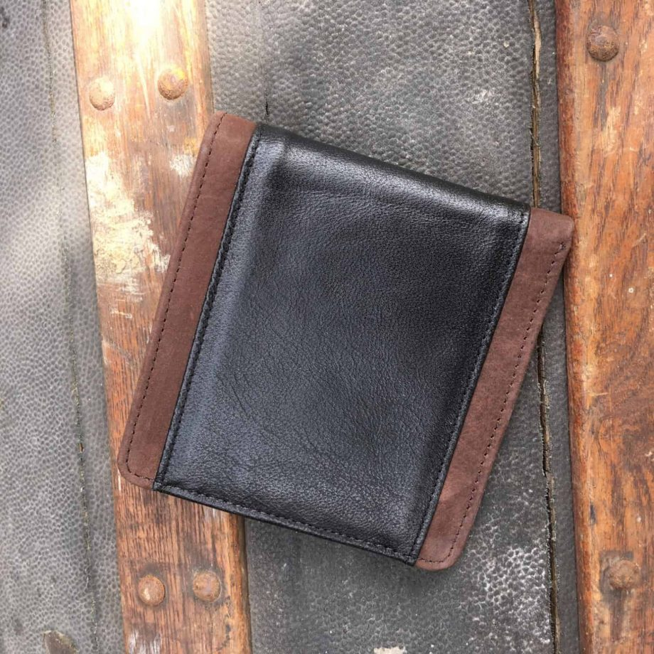 classic style brown and black leather men's wallet