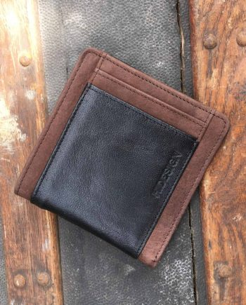 front view of classic style brown and black men's leather wallet