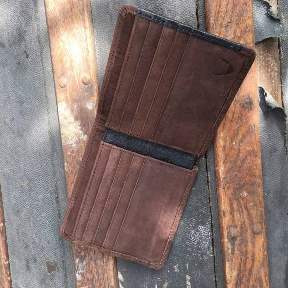 inside view of classic style brown and black men's leather wallet