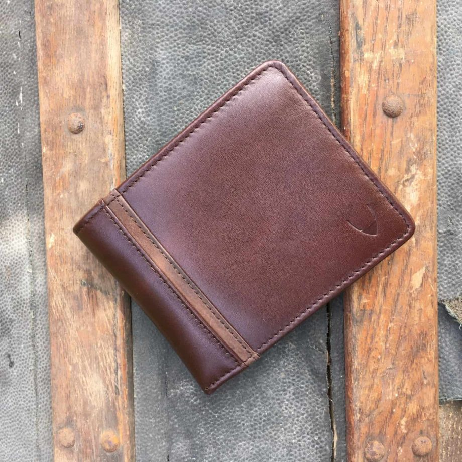 brown men's wallet with contrast leather detail