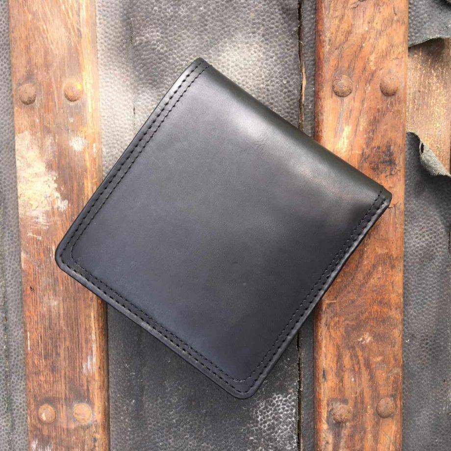 back view of mens black leather bi-fold wallet
