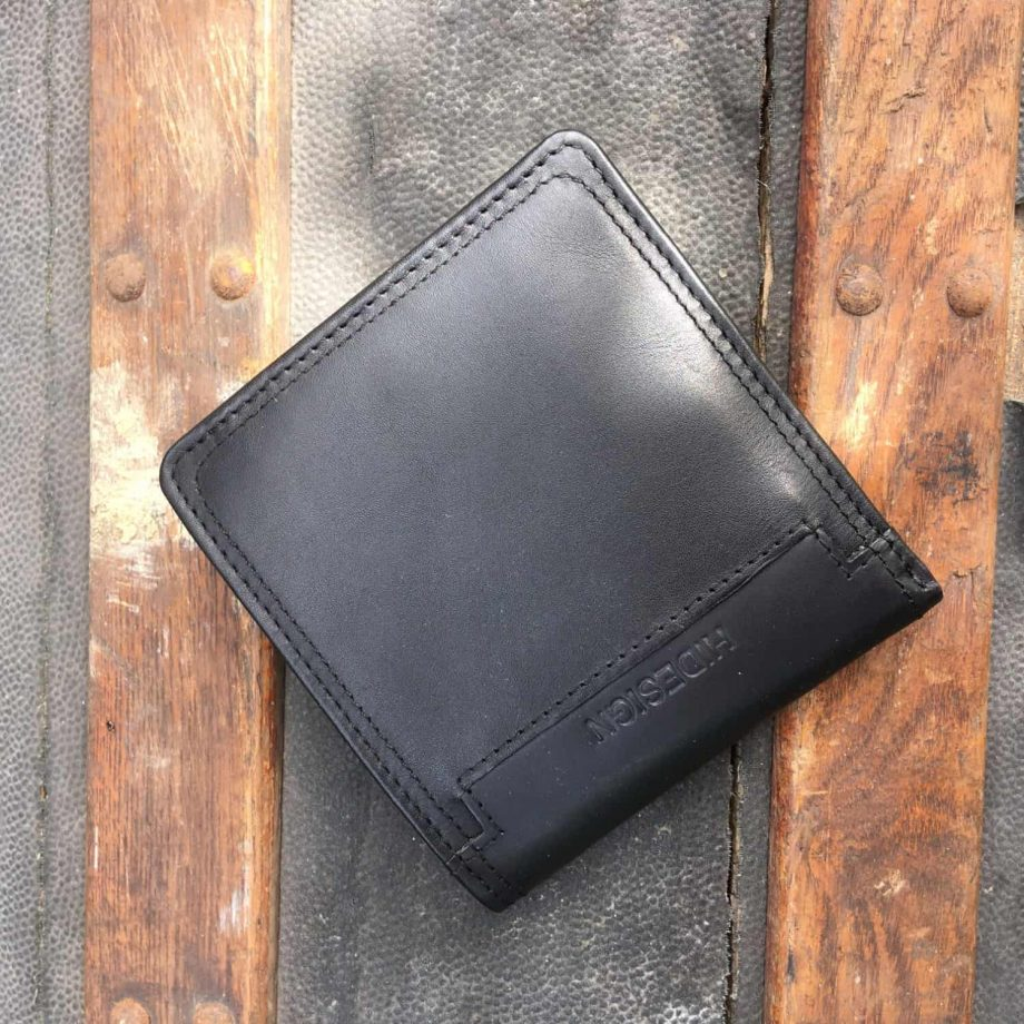 front view of mens black leather bi-fold wallet