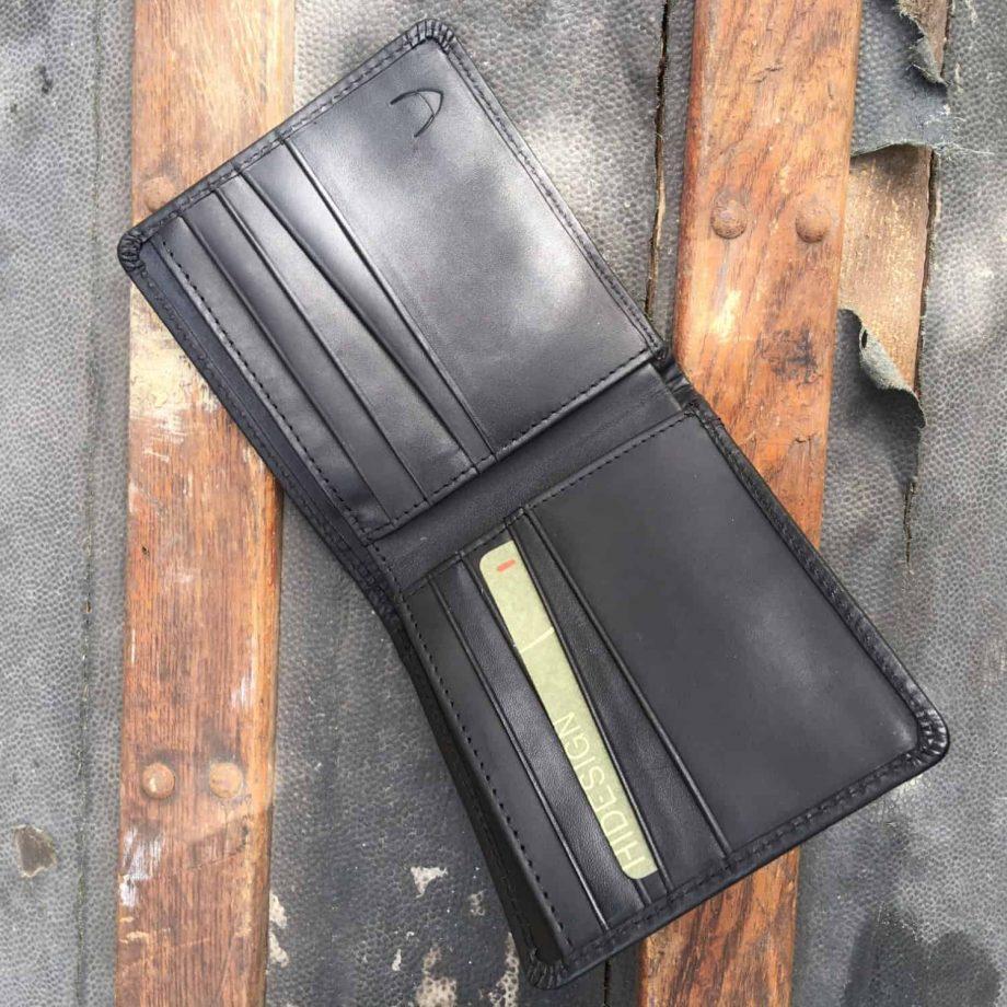 inside view of mens black leather bi-fold wallet