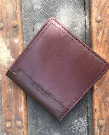 front view of mens brown leather bi-fold wallet