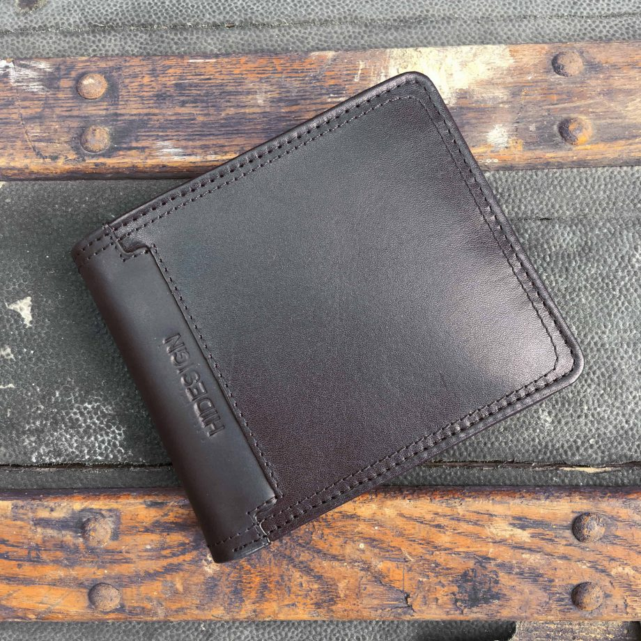 front view of black mixed leather hip wallet