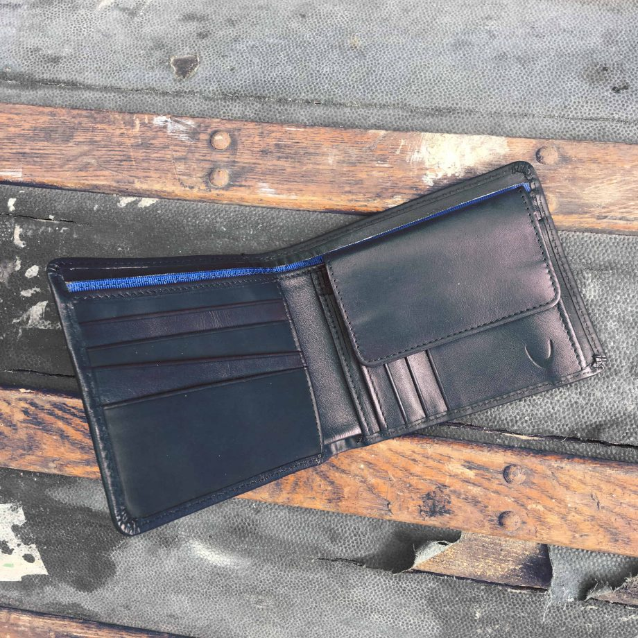 interior of mixed leather black hip wallet