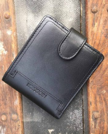 front view of black leather wallet with press stud closure