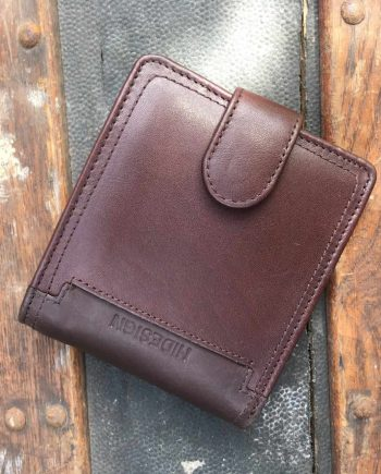 front view of brown leather wallet with press stud closure