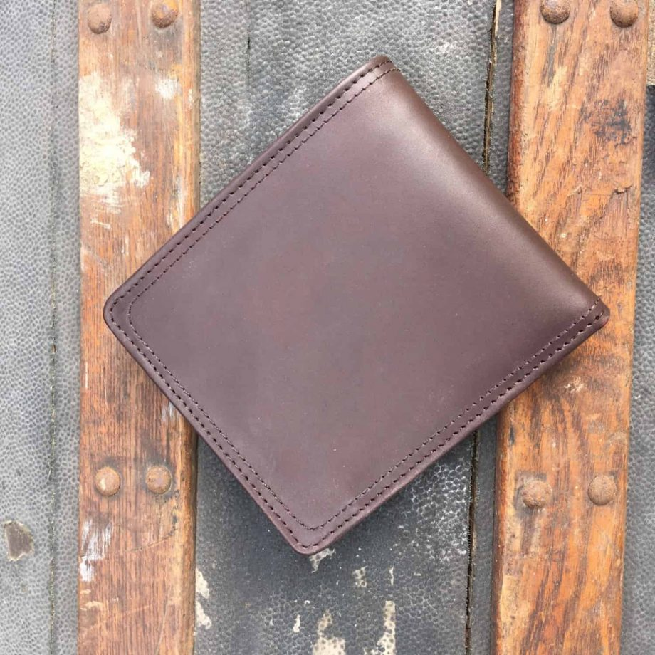 back view of brown leather hip wallet