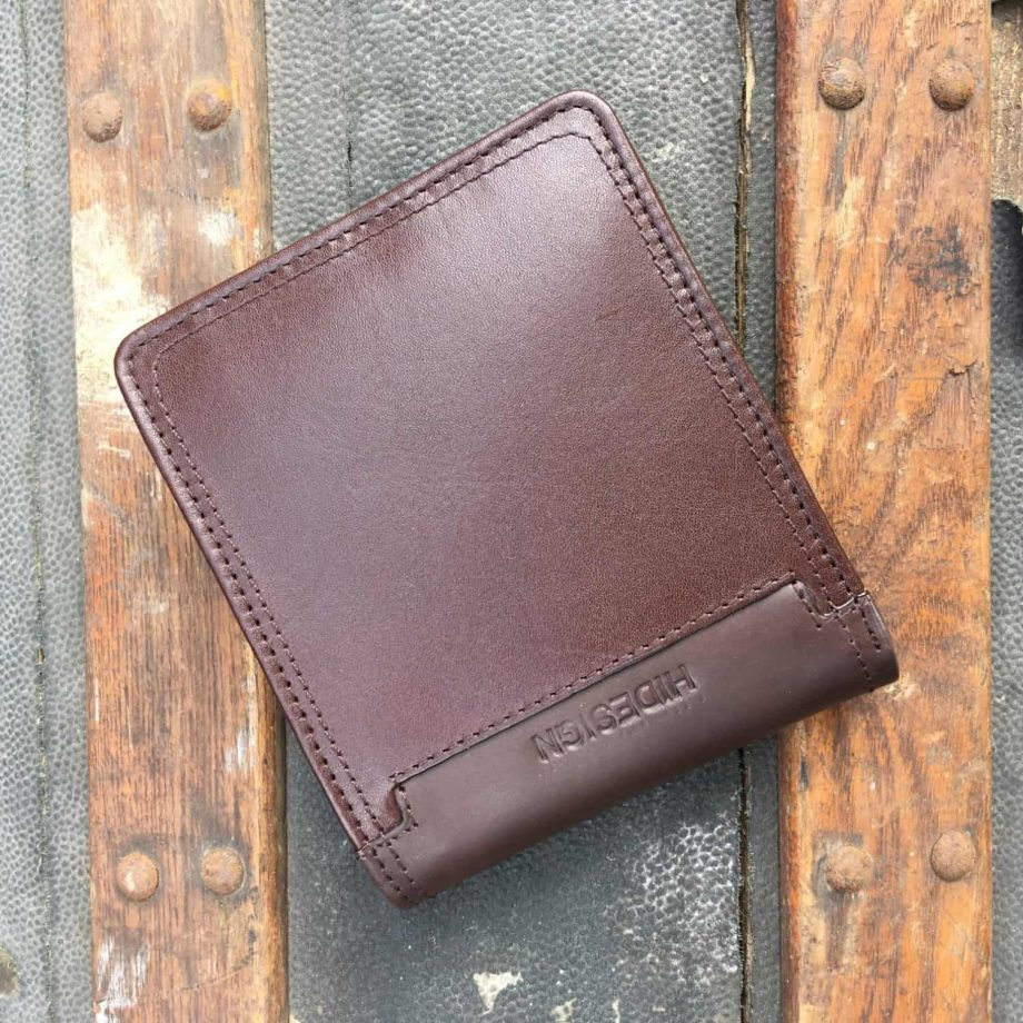 front view of brown leather hip wallet