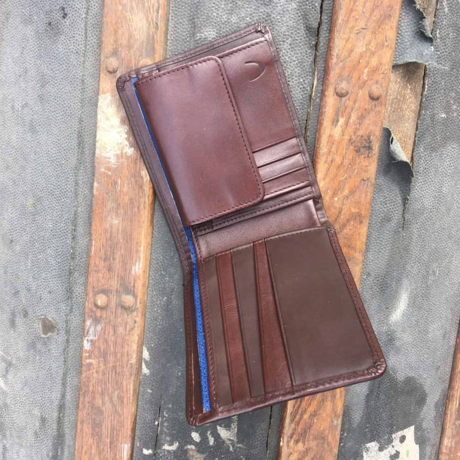 internal view of brown leather hip wallet