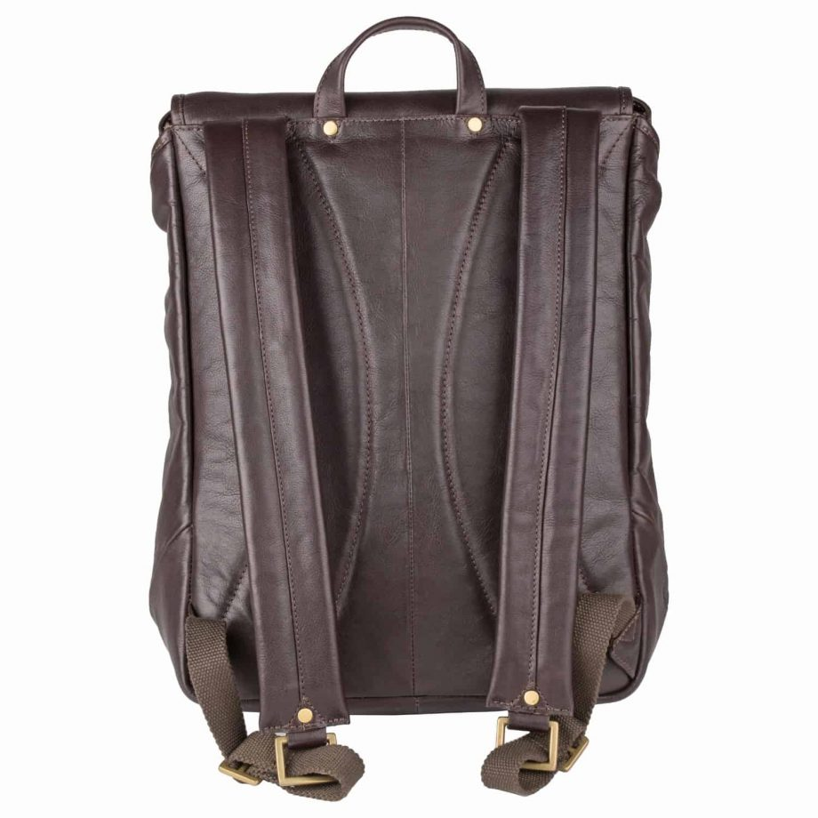 Image of the straps of brown Brosnan leather backpack.